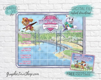 Digital Paw Patrol Girl Potty Training Chart, FREE Punch Cards | High Res JPG Files, Instant download, NOT Editable, Ready to Print