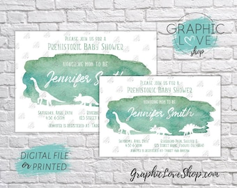 Personalized Green Watercolor Dinosaur Theme Baby Shower Invitation | 4x6 or 5x7, Digital JPG File or Printed, FREE US Shipping