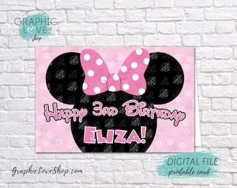 Digital 4x6 Pink Minnie Personalized Happy Birthday Card with Name and any age | Printable High Resolution JPG File, Made To Order