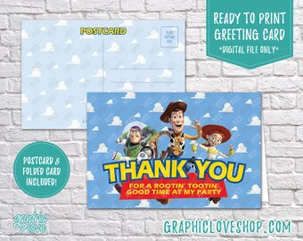 Digital 4x6 Toy Story Woody, Buzz Jessie Thank You Card, Folded & Postcard | High Resolution JPG Files, Instant Download, Ready to Print