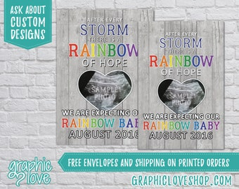 Personalized, Rainbow of Hope, Rainbow Baby Pregnancy Announcement, Ultrasound Photo | Digital or Printed, 4x6 or 5x7