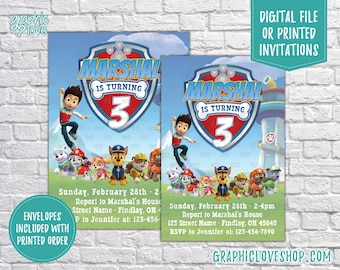 Paw Patrol Personalized Birthday Invitations, Any Age | Nick Junior, Chase, Skye, Marshal | 4x6 or 5x7, Digital or Printed, FREE US Shipping