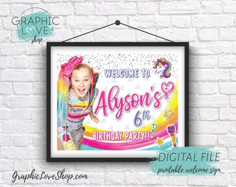 Digital File 8x10 JoJo Siwa Girly Rainbow Personalized Birthday Party Welcome Sign, Any Age | Printable High Resolution JPG, Made To Order