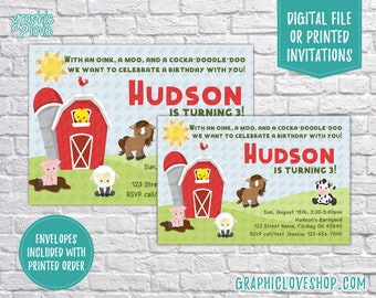 Personalized Farm Animals Barnyard Birthday Invitation Gender Neutral, Any Age | 4x6 or 5x7 Digital or Printed, FREE US Shipping & Envelopes