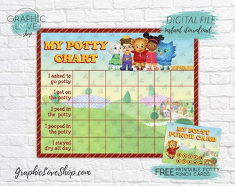 Digital Daniel Tiger Potty Chart, FREE Punch Cards | Mr Rogers Neighborhood | JPG Files, Instant download, NOT Editable, Ready to Print