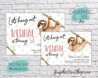 Personalized Cute Watercolor Sloth Birthday Invitation, Any Age | 4x6 or 5x7, Digital File or Printed, FREE US Shipping & Envelopes