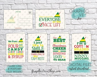 Digital Elf Movie Quotes Christmas Cards, Set of 5 designs, Folded & Postcard Included | PDF File, Instant Download, Ready to Print