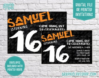 Teen Boy Simple Grunge Birthday Invitation, Any Age, Custom Name Color | 4x6 or 5x7, Digital File or Printed