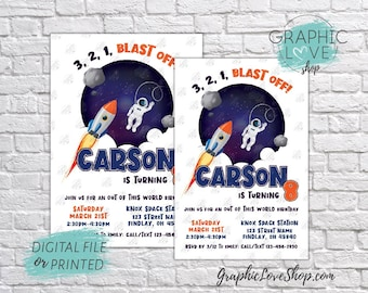 Space Astronaut Out of This World Birthday Invitation, Any Age   4x6 or 5x7, Digital File or Printed, FREE USA Shipping, Envelopes