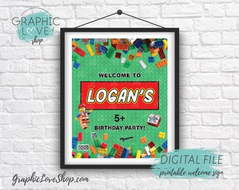 Digital 8x10 Building Bricks Personalized Birthday Party Welcome Sign, with Age | Printable High Resolution JPG File, Made To Order