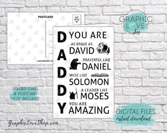 Digital 4x6 Biblical Daddy You Are Amazing Card, Folded & Postcard | 300dpi JPG Files, Instant Download, NOT Editable, Ready to Print