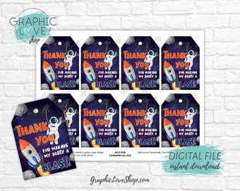 Digital Space Astronaut Out of This World Printable Birthday Thank You Tags | High Resolution JPG File, Instant Download, Ready to Print