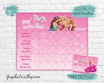 Digital Pink Barbie Princess Potty Training Chart, FREE Punch Cards | High Res JPG File, Instant download, NOT Editable, Ready to Print