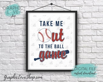 Digital 8x10 Take Me Out to the Ball Game Baseball Art Print | Sports Decor | High Resolution JPG File, Instant Download, Ready to Print
