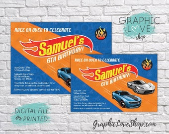 Personalized Hot Wheels Race Track Birthday Invitation, Any Age | 4x6 or 5x7, Digital File or Printed, FREE US Shipping & Envelopes