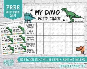 Digital Dinosaur Potty Training Chart, FREE Punch Cards, Print Yourself | High Res JPG Files, Instant download, NOT Editable, Ready to Print