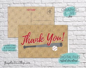 Digital 4x6 Baseball Thank You Card, Folded & Postcard Included | High Res JPG Files, Instant Download, NOT Editable, Ready to Print