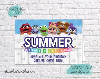 Digital 4x6 Muppet Babies Personalized Happy Birthday Card with Name and any age | Printable High Resolution JPG File, Made To Order