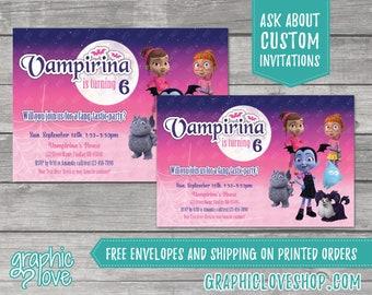 Personalized Vampirina Birthday Invitation, Any Age, Disney Junior | 4x6 or 5x7, Digital File or Printed, FREE US Shipping & Envelopes