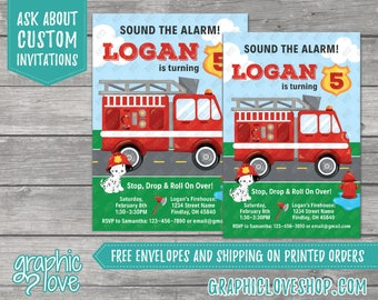 Fire Fighter Personalized Birthday Invitation | Fire Engine, Dalmatian | 4x6 or 5x7, Digital File or Printed, FREE US Shipping & Envelopes