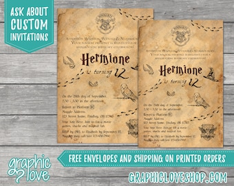 Personalized Harry Potter, Hogwarts Letter Style Birthday Invitation, Any Age   4x6 or 5x7, Digital JPG File or Printed, FREE US Shipping