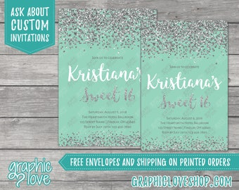 Glamourous Sweet 16 Mint and Silver Glitter Birthday Invitation | 4x6 or 5x7, Digital JPG File or Printed