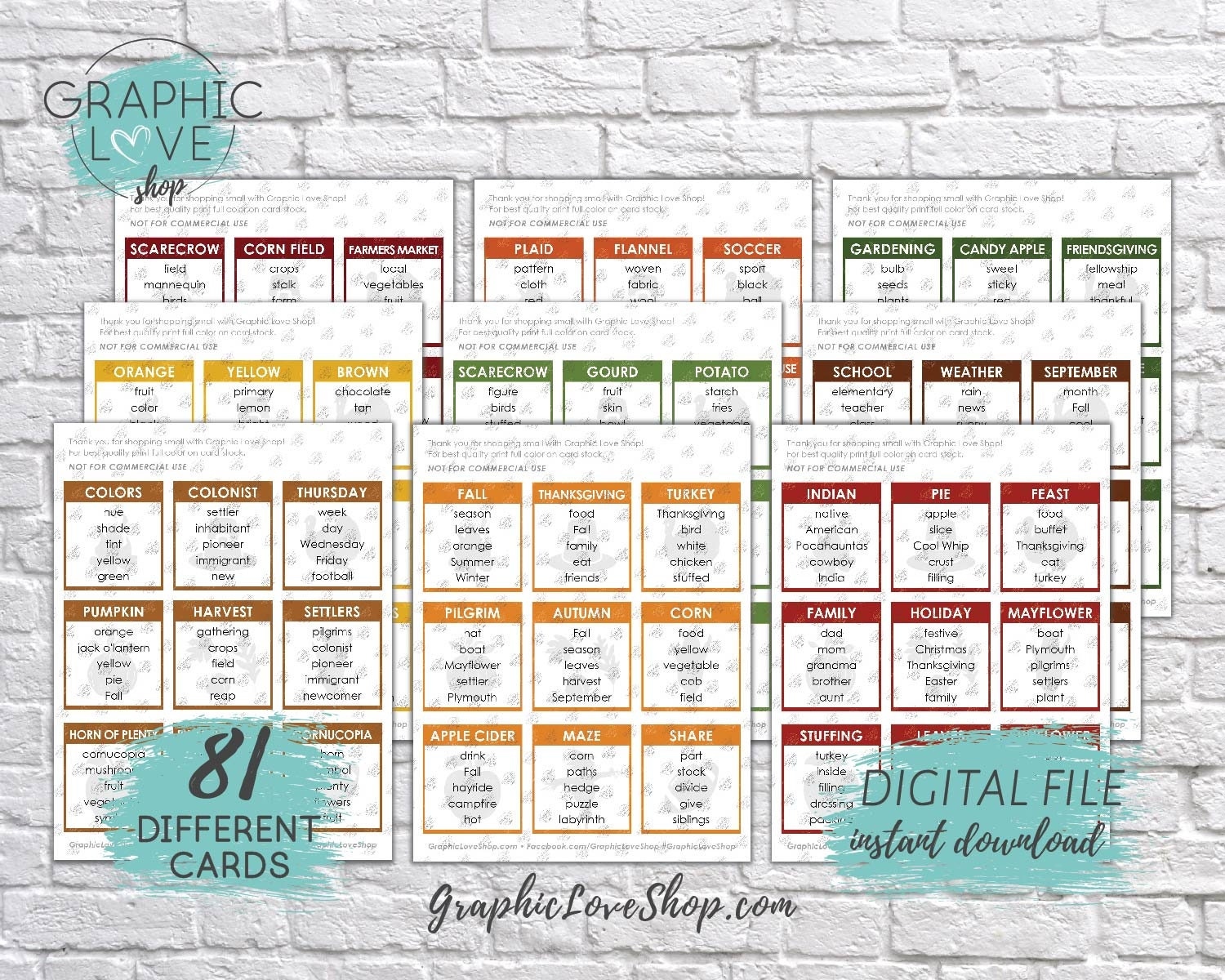 Printable Thanksgiving And Fall Themed Taboo Game 81 Cards Holiday Autumn Football Pumpkin Pdf File Instant Download Ready To Print