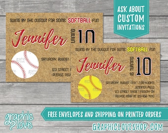 Fastpitch Softball Birthday Invitations, Any Age | Yellow or White ball, 4x6 or 5x7, Digital File or Printed, Envelopes, FREE US Shipping