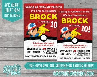 Pokemon Inspired Personalized Birthday Invitations   Any Age, 4x6 or 5x7, Digital File or Printed