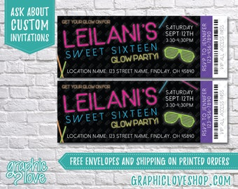 """Sweet 16 Glow in the Dark/Neon Ticket Birthday Party Invitations 5.5""""x2"""" 