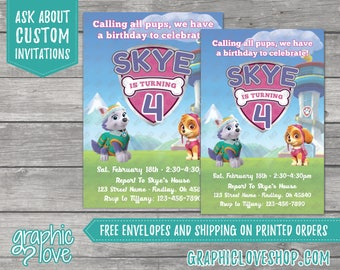 Paw Patrol Skye and Everest Personalized Birthday Invitations   Nick Junior   4x6 or 5x7, Digital or Printed, FREE US Shipping & Envelopes