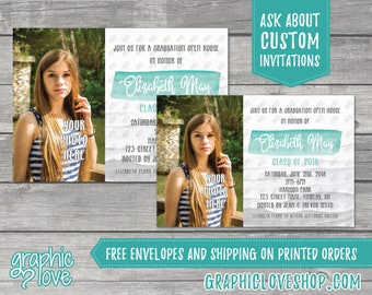 Personalized Teal Watercolor Photo Graduation Invitation/Announcement | 4x6 or 5x7, Digital File or Printed, FREE US Shipping & Envelopes