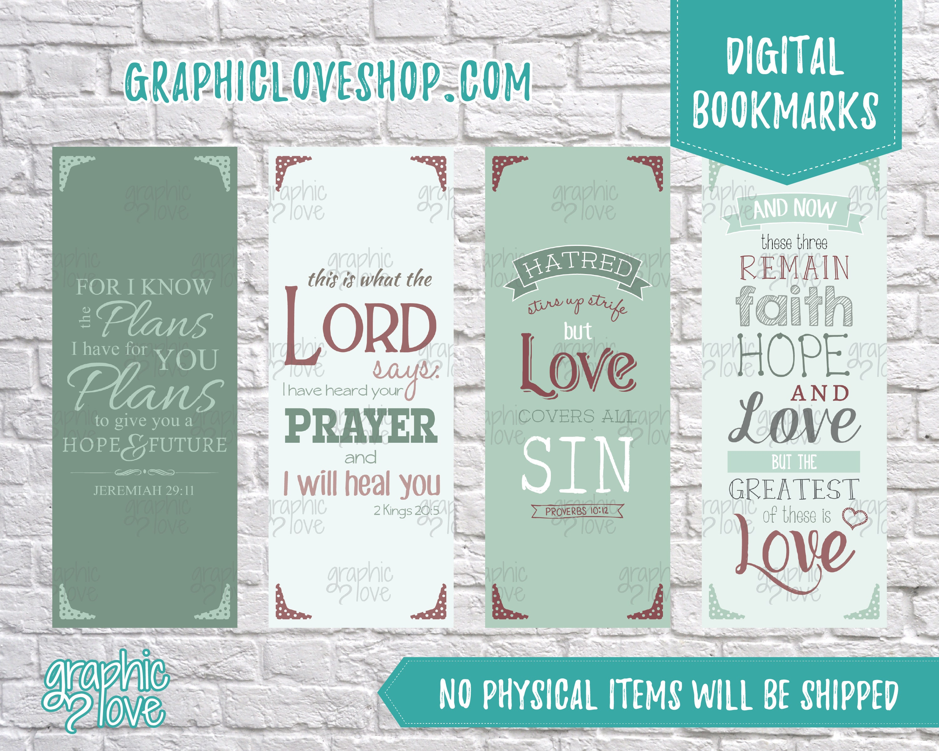 printable bible verse digital bookmarks, set of 4 | christian gift