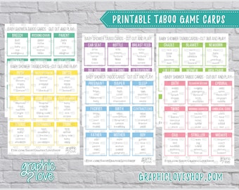 Printable Baby Shower Taboo Game 54 Cards | All Ages, Gender Reveal, Sprinkle, New Baby Party | Instant Download, PDF File