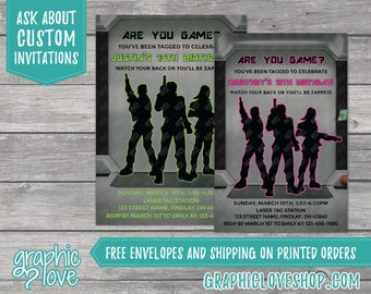 Personalized Are You Game Laser Tag Birthday Invitation | Pink or Green, 4x6 or 5x7, Digital or Printed