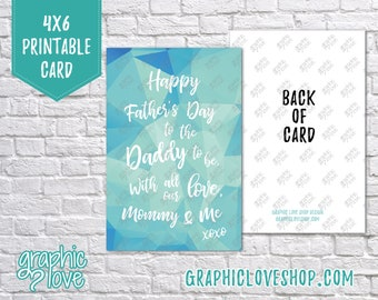 Digital 4x6 Daddy to be Father's Day Card from Mom & Baby, Folded and Postcard | High Res 300dpi JPG Files, Instant Download, Ready to Print