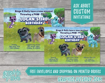 Personalized Puppy Dog Pals Birthday Invitation, Any Age   4x6 or 5x7, Digital or Printed, Envelopes, FREE US Shipping