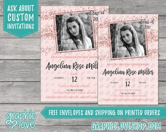 Personalized Rose Gold Pink Photo Graduation Invitation/Announcement | 4x6 or 5x7, Digital File or Printed, FREE US Shipping & Envelopes