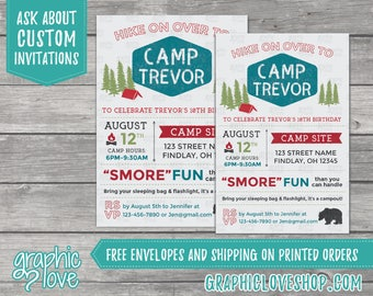 Personalized Camp Out Birthday Invitation | 4x6 or 5x7, Digital File or Printed