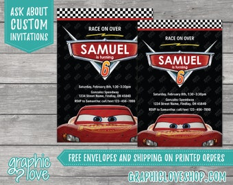 Personalized Lightning McQueen Cars Birthday Invitation for any age   4x6 or 5x7, Digital File or Printed, FREE US Shipping