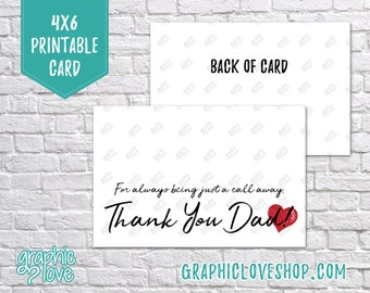 Digital 4x6 Father's Day Card from Daughter, Folded & Postcard | High Res 300dpi JPG Files, Instant Download, NOT Editable, Ready to Print