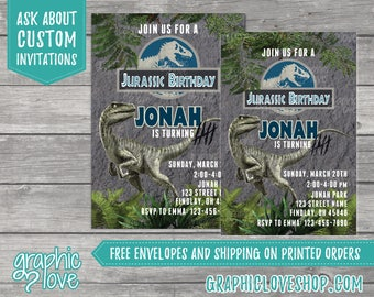 Jurassic World Raptor Personalized Birthday Invitation, Any Age   4x6 or 5x7, Digital JPG File or Printed, FREE US Shipping & Envelopes
