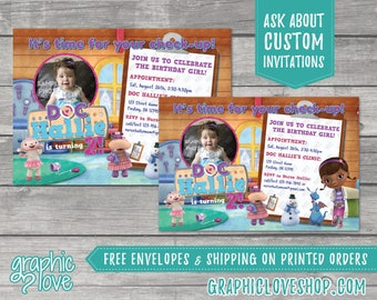 Personalized Doc McStuffins Birthday Invitation   4x6 or 5x7, Digital File or Printed, FREE US Shipping