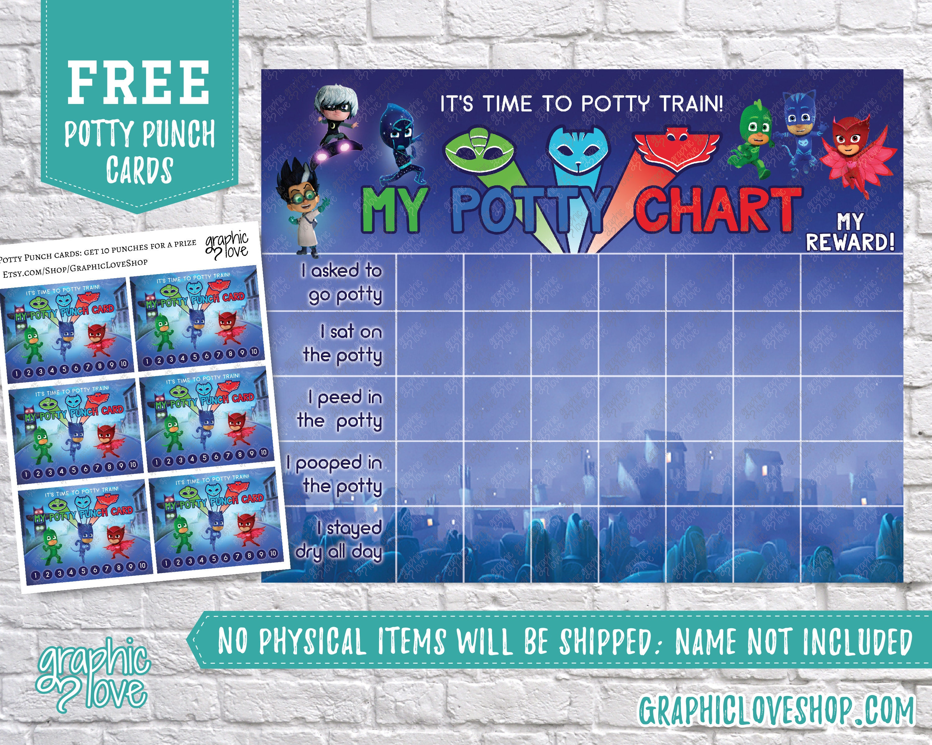 picture regarding Free Printable Potty Training Chart called Electronic Pj Masks, Disney Junior Potty Performing exercises Chart, Cost-free
