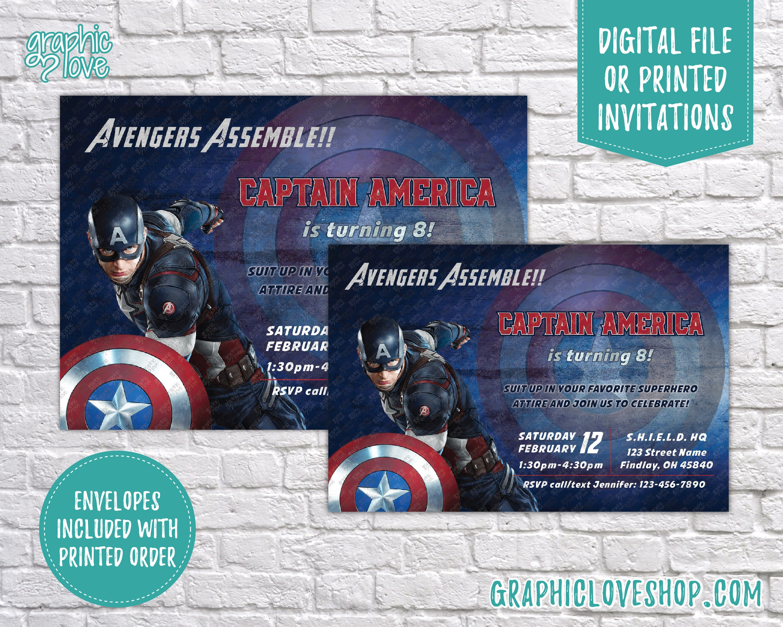 Personalized Captain America Marvel Avengers Birthday Invitation