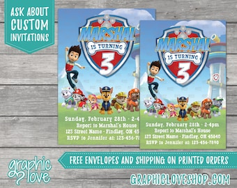 Paw Patrol Personalized Birthday Invitations   Any Age, 4x6 or 5x7, Digital File or Printed