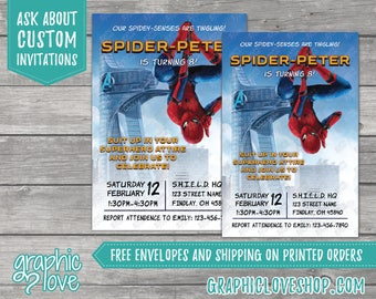 Personalized Spiderman Homecoming Birthday Invitation, Any Age   Marvel Hero   4x6 or 5x7, Digital or Printed, FREE US Shipping, Envelopes