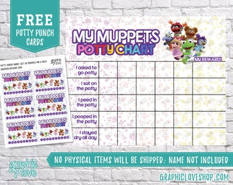 Digital Muppet Babies Potty Chart, FREE Punch Cards | Disney Junior | High Res JPG File, Instant download, NOT Editable, Ready to Print