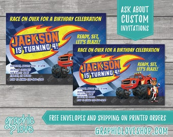 Personalized Blaze Monster Machines Birthday Invitation, Any Age   4x6 or 5x7, Digital File or Printed, FREE US Shipping & Envelopes