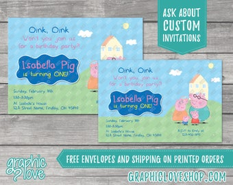 Personalized Peppa Pig Birthday Invitation, Any Age   4x6 or 5x7, Digital or Printed, Envelopes, FREE US Shipping
